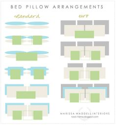 Bed pillow arrangements by Marissa Waddell Interiors (roost-home.blogspot.com) seen on Everything LEB