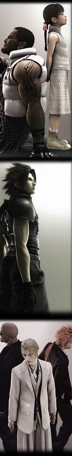 Barret and Marlene; Zack; Rude, Rufus Shinra and Reno from Final Fantasy VII (Advent Children)