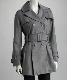 Look at this Yoki Heather Gray Double-Breasted Trench Coat on #zulily today!