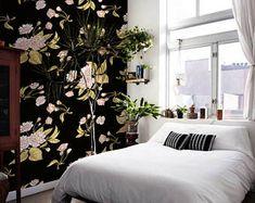 Foncé murale amovible Vintage Floral fond d'écran Roses Satin bleu marron, décor mural repositionnable, peler et coller réutilisable #19