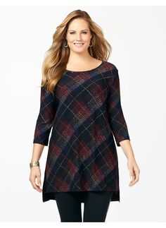Top Five Fall Fashion Trends for Plus Gals - Catherines Plus Size Plaid L'Attitude Tunic - Women's Size 1X,2X,3X,0X, Bright Wine