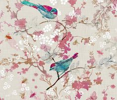 Birds   the Bees (LARGE) fabric by nouveau_bohemian on Spoonflower - custom fabric