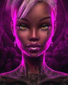 Max Twain on Behance Digital Art Girl, Digital Portrait, Portrait Art, Art Black Love, Black Girl Art, Pink Black, Black Art Pictures, Black Artwork, Afro Art