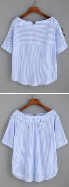 Blue Stripe Boat Neck Blouse With Buttons. Can I do this as refashion? Sewing Shirts, Sewing Clothes, Diy Clothes, Clothes For Women, Kurta Designs, Blouse Designs, Diy Blouse, Linen Blouse, Designer Kurtis