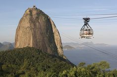 Cable car up to the dizzying peak of Sugarloaf Mountain, Brazil