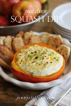 Jenny Steffens Hobick: Fall Squash & Goat Cheese Dip with Garlic Toasts
