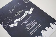 Starry Night City Wedding Invitation Printable Template