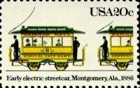 Stamp: Early Electric Streetcar (United States of America) (Streetcars) Mi:US…