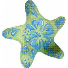 Blue/Lime Hibiscus Starfish Ornament