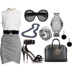 gray shirt & white blouse with silver accents to wear at the office