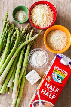 Asparagus Casserole in a creamy Alfredo sauce topped with crisp cheesy bread crumbs. This asparagus bake is an easy and impressive side dish. Vegan Asparagus Recipes, Best Asparagus Recipe, Baked Asparagus, Asparagus Pasta, Vegetarian Recipes, Cooking Recipes, Healthy Recipes, Creamy Asparagus, Soups