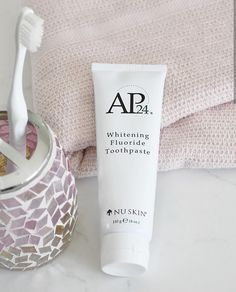 Brightens and whitens teeth. AP Whitening Fluoride Toothpaste lightens teeth without peroxide while preventing cavities and plaque formation. This gentle, vanilla mint formula freshens breath and provides a clean, just-brushed feeling that lasts all day. Nu Skin, Ap 24 Whitening Toothpaste, Whitening Fluoride Toothpaste, Best Toothpaste White Teeth, Get Whiter Teeth, Smile Teeth, White Smile, Anti Aging Skin Care, Skin Products