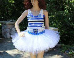 WHOLE OUTFIT Star Wars R2D2 Run Disney Marathon Race Tutu Skirt + Racer Back Tank Top Drifit Set Geeky Cosplay Dress Set