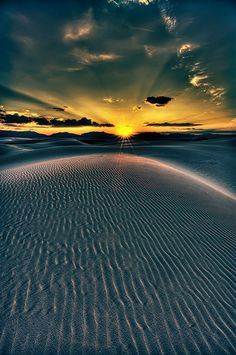 Sunset, White Sands, New Mexico. Itinerary for travel in the Southwest
