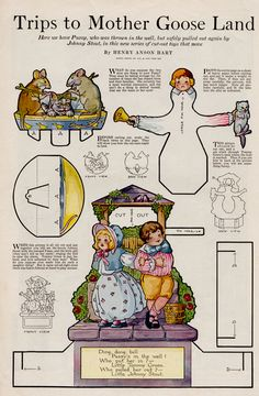 Story Book Sundays - Trip To Mother Goose Land - Henry Anson Hart Paper Puppets, Paper Toys, Bell Paper, Mother Goose And Grimm, Paper Art, Paper Crafts, Up Book, Vintage Paper Dolls, Paper Models