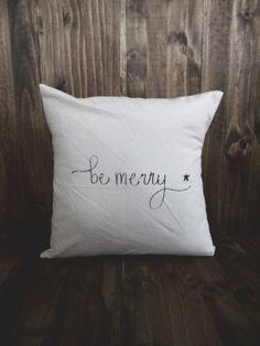Be Merry 16 x 16 Christmas Pillow Cover, seasonal home decor, present, housewarming gift, cushion cover, throw pillow