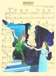 Peter Pan et Wendy Darling Art Print par AmourPrints sur Etsy Disney Sheet Music, Sheet Music Art, Disney Songs, Disney Quotes, Disney Art, Disney Pixar, Walt Disney, Disney Fantasy, Peter Pan And Tinkerbell