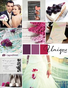 A purple color palette featuring wedding stationery, decor, and other ideas for your unique wedding theme.