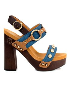 Denim Entrada Leather Sandal