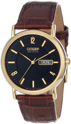 """Citizen Men's BM8242-08E """"Eco-Drive"""" Gold-Tone Stainless Steel and Leather Strap Watch Citizen"""