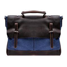 "Zlyc Men's Vintage Leather + Canvas Briefcase Handbag 15.6"" Laptop Bag Business Messenger Bag Color Blue ZLYC http://www.amazon.com/dp/B00LGBN60I/ref=cm_sw_r_pi_dp_3L5Xtb1Y45DSQWGF"