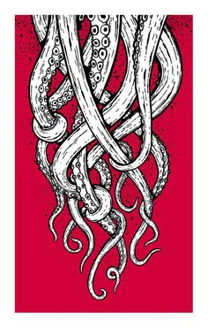 Tentacles - Screenprinted Art Print - my Octopus drawing would work like this.: