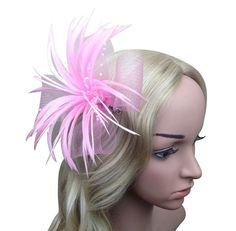 Chrysanthemum Style Flower Fascinator With Feather on clip Pink