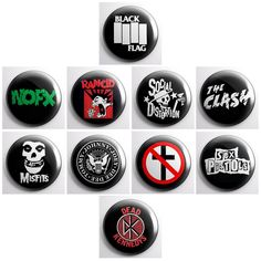PUNK BANDS - a pinback button set - Ramones, Social Distortion, The Misfits, Rancid, NOFX, The Clash, Sex Pistols, Dead Kennedys and more