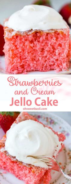 Strawberries and Cream Jello Cake - What's a light and spring inspired dessert that's still quick and easy? Well, our strawberries and cream jello cake sure fits the bill! A moist cake with a hint of strawberries and cream! Jello Cake Recipes, Cake Mix Recipes, Baking Recipes, Cake With Jello Recipe, Jello Desserts, Alcoholic Desserts, Dessert Recipes, Strawberry Jello Cake, Strawberry Desserts