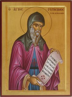 """Gerasimos the New Ascetic of Cephalonia Commemorated on August 16 and on October 20 """"[St. Gerasimos'] most characteristic motto, which he preached until he died, was """"Children, live in peace a. Orthodox Catholic, Orthodox Christianity, Byzantine Art, Byzantine Icons, Religious Icons, Religious Art, Christian Mysticism, Greek Icons, Religion Catolica"""