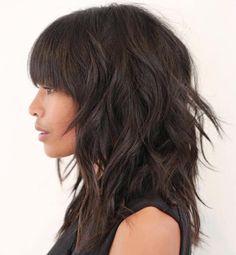 60 Most Universal Modern Shag Haircut Solutions Brunette Shag With Straight Bangs Modern Shag Haircut, Long Shag Haircut, Haircut Bangs, Shaggy Hair, Haircut Style, Hairstyles With Bangs, Straight Hairstyles, Pretty Hairstyles, Stacked Hairstyles