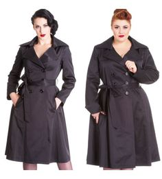 5810668dfa885  Special Order  Hell Bunny Bacall Trench Coat - Black Bunny Outfit