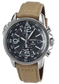Seiko SSC293P1 Watches,Men's Prospex Solar Chrono Dual Time Khaki Nylon Black Dial, Sport Seiko Solar Watches