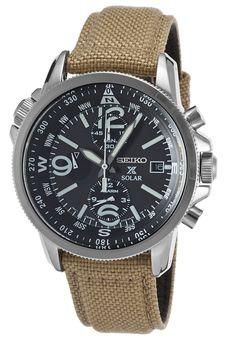 Seiko SSC293P1 Watches,Men's Prospex Solar Chrono Dual Time Khaki Nylon Black Dial, Sport Seiko Solar Watches