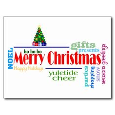 Christmas Word Art Postcard