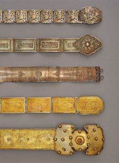 Five women's belt. South Sumatra. Silver (top 3), gold plated and gilt silver (bottom 2) || Ethnic Jewellery from Indonesia: Continuity and Evolution By Bruce W. Carpenter, page 119