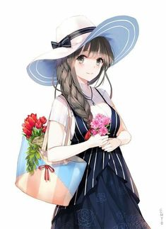 Anime picture with original yumaomi long hair single tall image blush looking at viewer brown hair simple background fringe white brown eyes braid (braids) light smile upper body single braid casual girl flower (flowers) hat Cool Anime Girl, Pretty Anime Girl, Beautiful Anime Girl, Anime Art Girl, Anime Girls, Manga Girl Drawing, Anime Girl Drawings, Anime Artwork, Anime Chibi