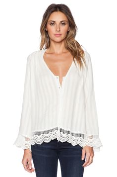 #REVOLVEclothing SARNA LACE BUTTON UP LIV