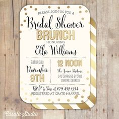 Gold Confetti Bridal Shower Invitation Bridal Shower Printable Invitation OR Printed Card