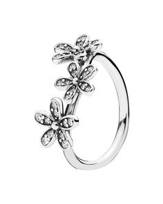 Pandora's daisy-chain ring adds swoon-worthy shine to your fingers. | Sterling silver/cubic zirconia | Imported | Style #190933CZ-52 | Photo may have been enlarged and/or enhanced | Web ID:1312499