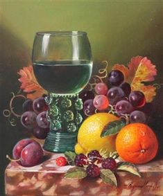 Still Life of a Rummer and Fruit on a Ledge By Raymond Campbell