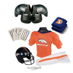 Denver Broncos Youth NFL Ultimate Helmet and Uniform Set (Medium)