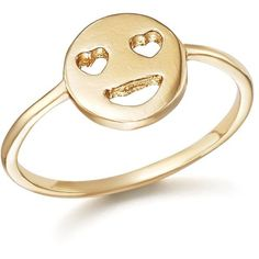 Bing Bang Nyc 14K Yellow Gold Heart Eyes Emoji Ring (2 155 SEK) ❤ liked on Polyvore featuring jewelry, rings, accessories, heart shaped rings, gold jewellery, 14k gold jewelry, gold heart ring and 14k yellow gold ring
