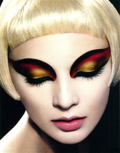 Love the shape of this eye makeup, gorgeous flame inspired colours too.
