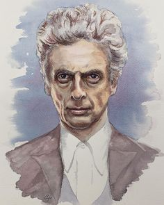 #DoctorWho  #Watercolor and #pastelpencil #portrait of #PeterCapaldi #twelthdoctor #drwho #drawing #painting