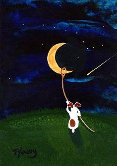 Jack Russell Terrier chien Outsider Folk art print par ToddYoungArt