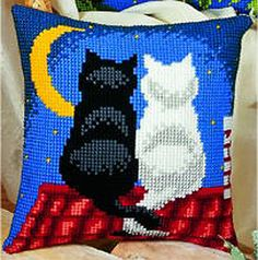 Roof Top Cats Cross Stitch Cushion Kit By Vervaco