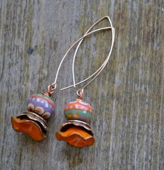 Tangerine and Lavender Lampwork Flower Dangles