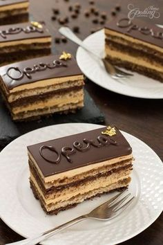Opera Cake is a rich French dessert, that uses one of the most loved flavor combinations, chocolate and coffee. Chocolat Recipe, Cake Chocolat, Patisserie Fine, Chocolate Torte, Chocolate Glaze, Chocolate Gold, Chocolate Sponge, Chocolate Sprinkles, Chocolate Brownies