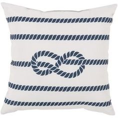 Showcasing a cobalt rope motif laid over an ivory backdrop, this eye-catching pillow lends nautical appeal to your living room or den.  Product: PillowConstruction Material: PolyesterColor: Ivory and cobaltFeatures: Suitable for indoor and outdoor use Cleaning and Care: With a dry cotton towel or white paper towel, blot out stain as much as possible. Scrape off any debris. Test fabric cleaner in discreet area. See manufacturer's label for further information.